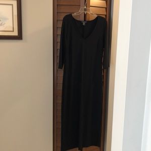 Calf length dress with 3/4 inch sleeves.